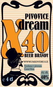 Pivovice X40  - je unikátní pivní brandy vyráběná z ležáku Oldgott. Obsah alhoholu: 40,0%