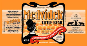 Medvídek  - nefiltrovaný, 15° světlý speciál dokvášený s medem v dubových sudech Obsah alkoholu: 6,2 %
